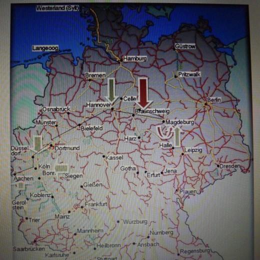 De ,,reis'' ging over Aken, Keulen, Düsseldorf, Dortmund, Hannover naar Magdeburg. De bestemming leek aanvankelijk de Junkers-fabrieken in Halle/Saale, maar mijn  vader moest een deel van het traject terugkeren naar Fallersleben (Wolfsburg), halverwege tussen Magdeburg en Hannover.